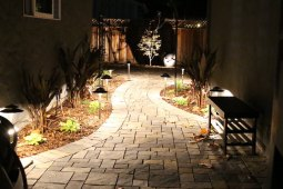 After: A curved pathway leads to a new patio and shade loving perennials begin to soften the walls.